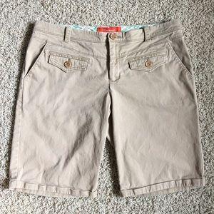 Anthropologie Cartonnier Khaki Long Bermuda Shorts